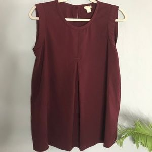 J Crew Maroon Sleeveless Blouse Size 4 J.Crew Top